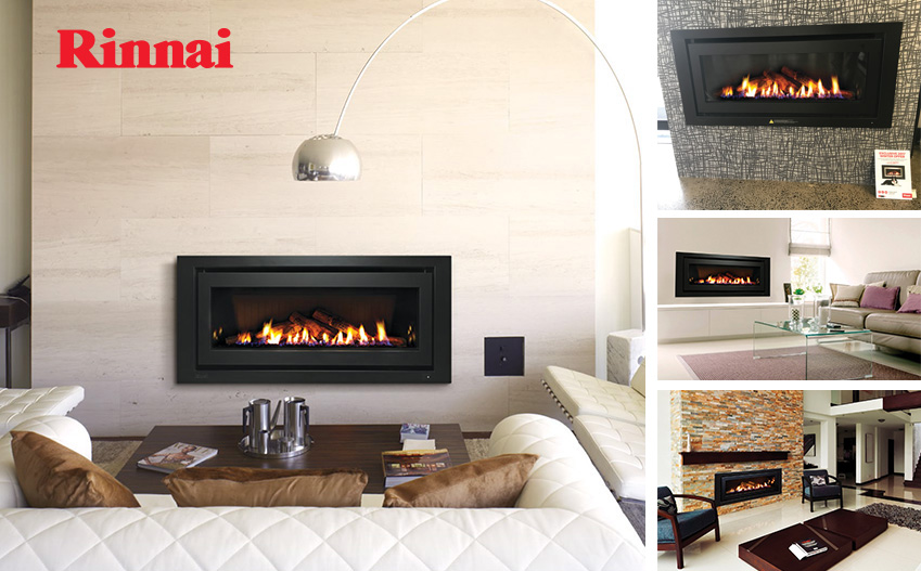 Rinnai_1250_Gas Log Fire logo collage